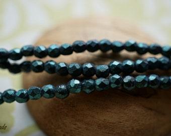MetallicTeal Beads, Czech Beads, Beads, sb94104