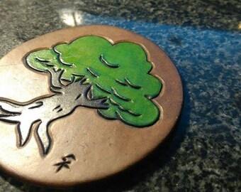 Handmade Leather Tree Coaster.