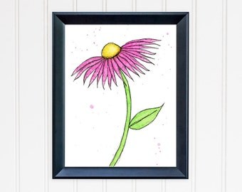 Pink Daisy Art Print. Whimsical Wall Art. Watercolor Flower. 8x10 Print. Mother's Day Gift. Nursery Wall Art. Gift for Mom. Gift for Her.