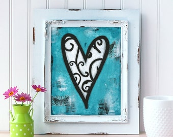 Heart Art Print. Mixed Media Heart Painting. Whimsical Heart Wall Art. Blue Wall Art. Gift for Him. Gift for Husband. Romantic Gift.