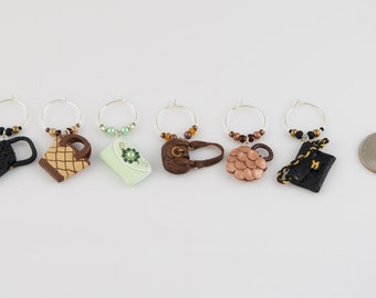 Purse (handbag) wine charms (6) - hand sculpted in polymer clay