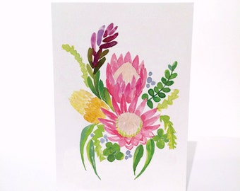 Australian Natives King Protea - A6 Greeting Card