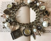 Word Count Vintage Typewriter Key Charm Bracelet - Antique Bronze with Cream Keys. Gift for Writers.