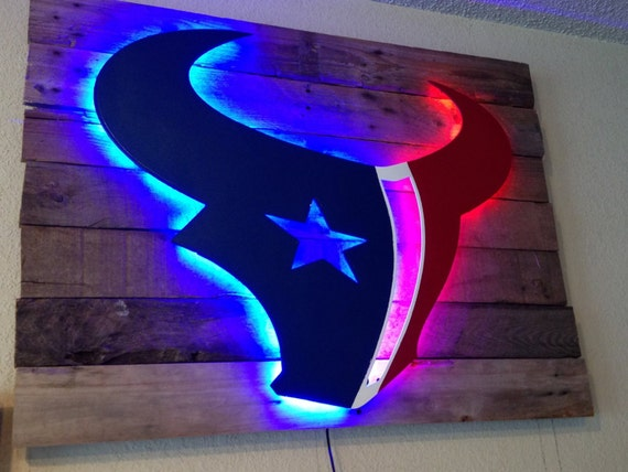 houston texans custom metal sign with led lights on rustic wood