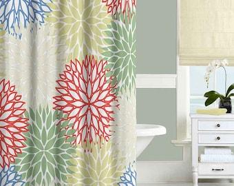 Floral Shower Curtain Chrysanthemum Bathroom Decor Bath Curtains Blue Red