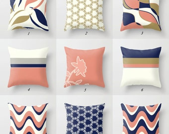 Navy Blue Pillow, Pink and Blue Pillow Covers, Pink and Navy, Coral Pink Pillow Pink and Gold Pillow White and Gold Pillow Decorative Pillow