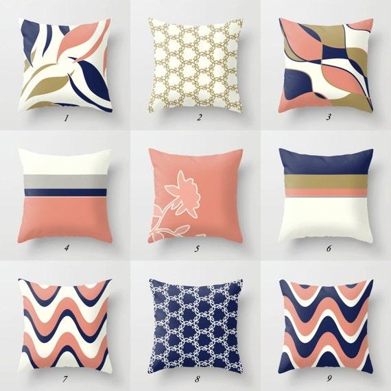 Navy Blue Pillow Pink and Blue Pillow Covers Pink and Navy