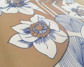Vintage 70s fabric 50x90cm: Brown flower