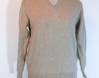 Vintage Tan Sweater Light Brown V Neck Sweater Wool Tan Sweater Hipster Sweater 1960s Sweater Tan Pullover
