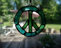 Stained Glass Peace Sign Necklace Suncatcher