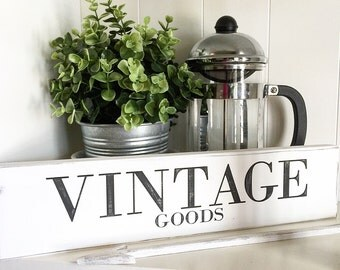 Rustic signs VINTAGE GOODS White sign with Black letters and lightly distressed