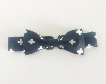 Black Criss Cross Adjustable Bow Tie - Toddler/Child