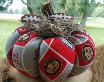 Fall Football Pumpkin Made With Officially Licensed Ohio State Buckeyes Fabric