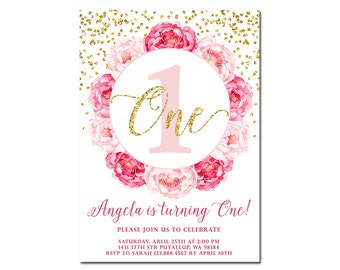 1st birthday invitation, blush pink & gold glitter confetti, girl's birthday invitation, floral printable invitation, ANY AGE