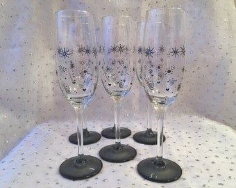 Series of 6 grey - black champagne flutes
