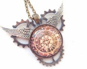 "Men's gift, gift for her, gift, Steampunk Pendant,Torch Soldered Clockwork Pendant ""A Geared Flight"""