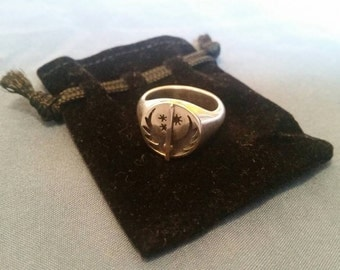 """Fallout """"Brotherhood of Steel"""" hand crafted sterling silver signet ring."""