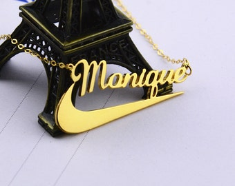 Personalied Name Necklace,Gold Nameplate Jewelry,Name Necklace,Custom Name Necklace,Christmas Gift,Name Pendant with Nike Symbol