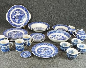 Blue Willow 25 Piece Dinnerware Set Combining Various Manufacturers