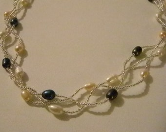 Twisted Three Strand Beaded Cream, Pink, Black Pearl Like Necklace