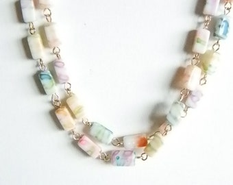 Colorful Plastic Beaded Necklace - Blue Pink Purple Green