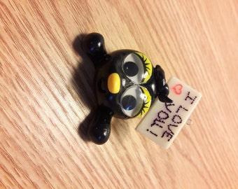 Sweet black bird, I love you, handmade polymer clay