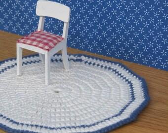 Doll house crochet rug hand made cream white navy blue