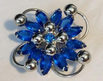Vintage Silver Tone Brooch with Vivid Blue Rhinestones
