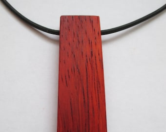 Reclaimed Padauk Necklace, Wooden Necklace, Wooden Pendant