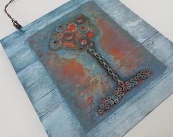 Rusty Tree Mixed Media, Reclaimed Mixed Media Art, Metal, Acrylic, Upcycled