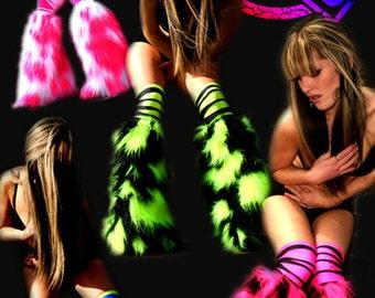 Neon Camo fluffies leg warmers faux fur long pile fluffy boots plur rave clubwear