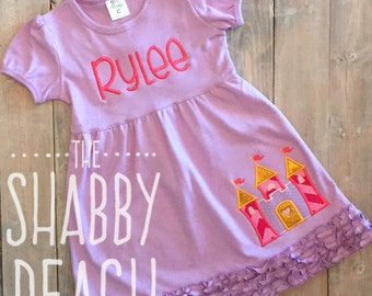 Princess Castle Personalized Dress, Castle Applique, Princess Birthday Party
