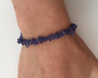 Tanzanite bracelet, Tanzanite chip bracelet, December birthstone bracelet, girlfriend gift, cornflower blue gemstone bracelet, sister gift