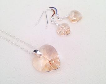 Light silk hearts with Sterling Silver, heart earrings heart necklace, beach wedding jewellery, girlfriend gift, beach bridesmaid