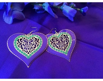 Hot Purple Hearts Earrings