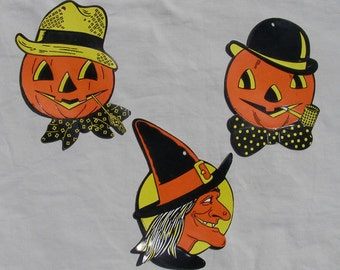 3 Vintage Die Cut Halloween Decorations by Luhrs