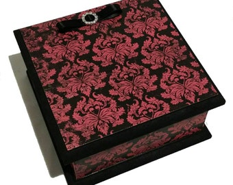 Classy Goth Damask Keepsake Box - Red & Black