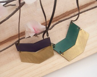 Geometric brass and leather pendant. Leather necklace. Leather pendant
