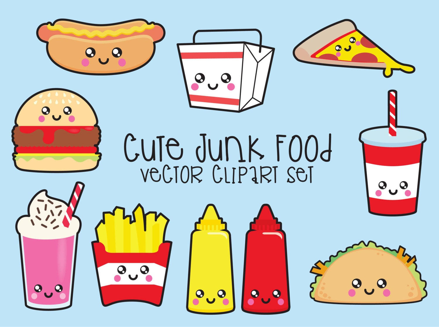 Clip Art Kawaii Clipart premium vector clipart kawaii junk food by looklookprettypaper