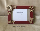 4 x 6 photo frame with butterflies and flower accent