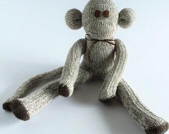 50% OFF-Sock Monkey-Sweater-Handmade Knit-like-Monkey-Plush-Tan, Brown