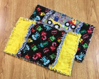baby burp cloths, rag burp cloths, set of two, monsters rag burp cloth, thick burp clothes, flannel burp clothes, baby gift