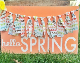 Spring Wooden Sign with Fabric Banner