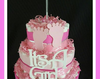 It's a Girl Diaper cake candy n trinket bowl umbrella centerpiece