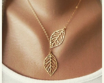Delicate elegant Leaf Lariat Necklace