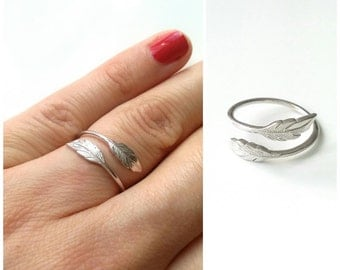 Ring silver feather 925 solid silver ring 925 ring sheet - adjustable size - ring Silver 925/000 - silver 925