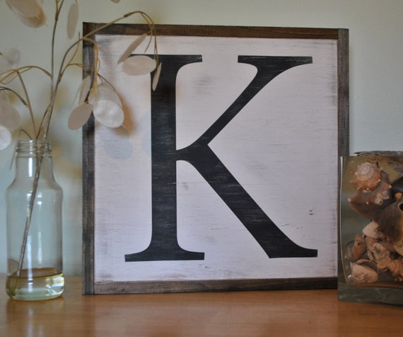 Initial Home Decor: INITIAL LETTER 1'x1' Framed Sign Distressed Shabby