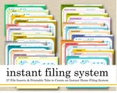 Printable Instant Filing System, 27 File Cards/Index, Pre-Printed Hanging File Tabs, Paper Organizer, Filing Guide