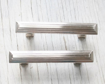 2 Vintage Silver Drawer Pulls, Cabinet Hardware, Retro Drawer Pulls,  3-in Center-to-Center Polished Nickel, Satin Nickel Bar Cabinet Pull