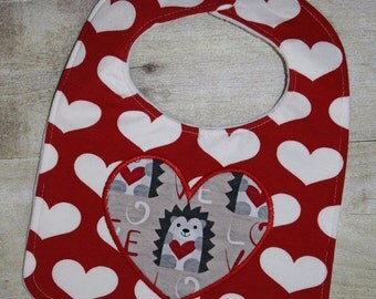 24 Hour Sale Price!!!   Heart Applique Bib In The Hoop Embroidery Machine Design for the 8x10 hoop